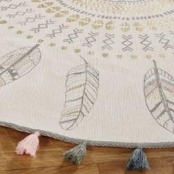 Tapis rond à pompons en coton