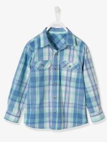 Chemise garçon à carreaux - aqua