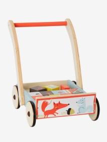 Chariot de marche et d'activités avec cubes de construction