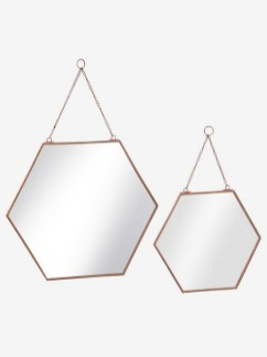 Lot de 2 miroirs enfant hexagones