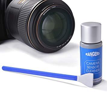 Set de bastoncillos de Limpieza Rangers (12 Piezas) y 15ml de Solución Limpiadora sin Alcohol, para Sensor Cámara Digital, Ideal para Absorber y Barrer partículas Invisibles y Manchas