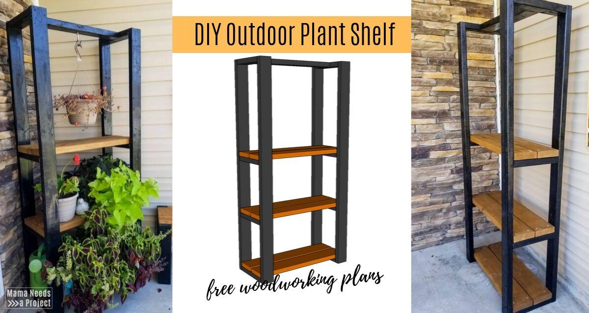 diy outdoor plant shelf woodworking