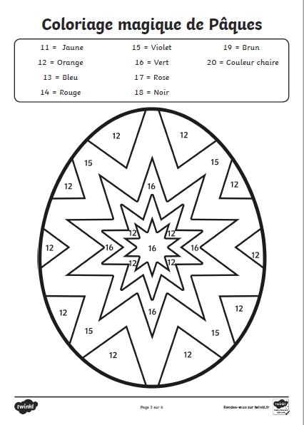 coloriages magique chiffre 20 paques