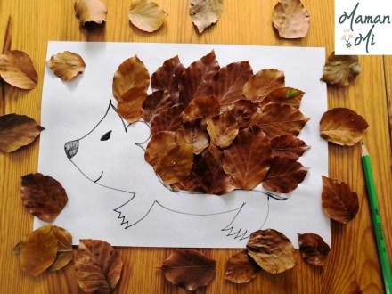 bricolage hérisson feuilles automne