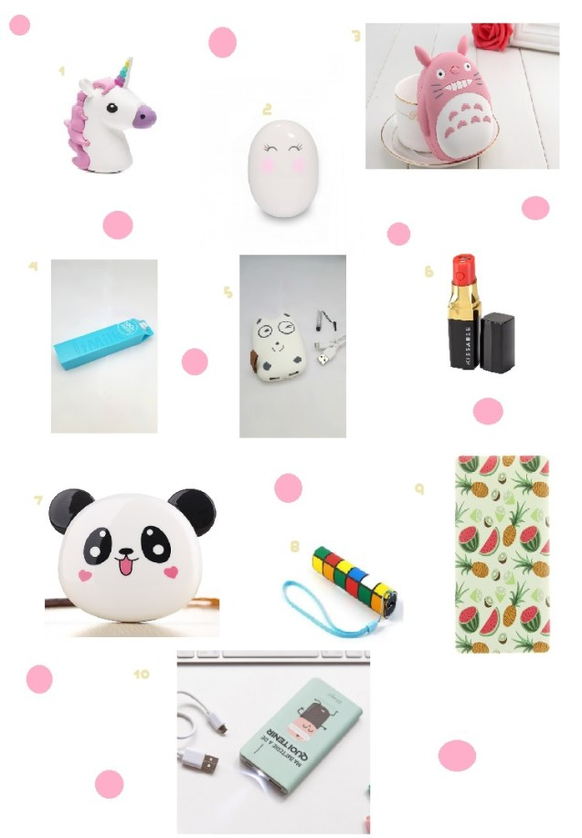 Sélection de 10 batteries externes girly