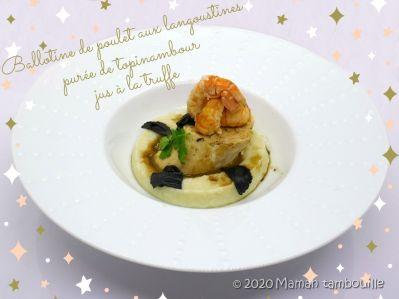 Ballotine de poulet aux langoustines, purée de topinambours, jus à la truffe