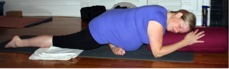supported pigeon pose prenatal yoga