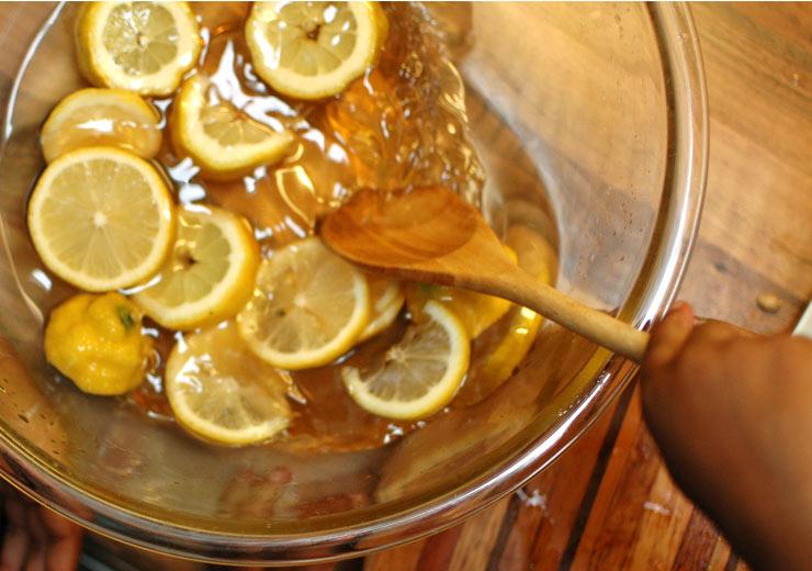 Adding Lemons to Elderflower Cordial from Mamanushka.com