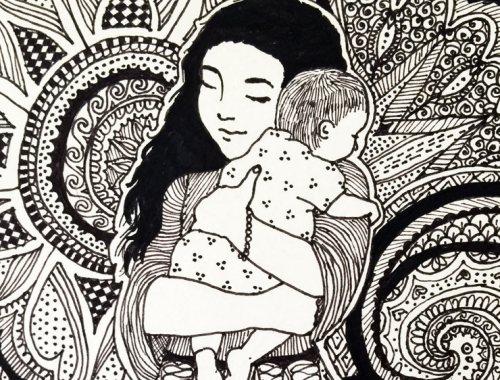 MAMANUSHKA.com || 5 Online Resources I Wish I Had Known As A New Mom || Pen & Ink Illustration by Zarina Teli || Mama & Baby Art
