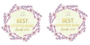 Two graphic badges, designed as wreaths, awarding Mamanushka Best Parenting Blog and Best Lifestyle Blog for this year