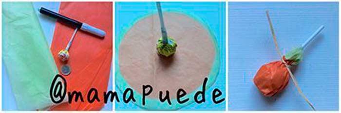 chupachups con forma de calabaza de halloween