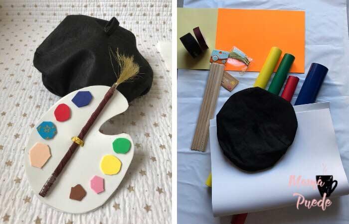 disfraz de pintor con bolsas de basura