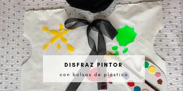 Disfraz de pintor con bolsas de plástico