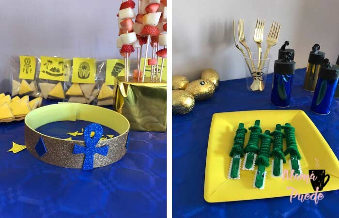 detalles de decoración para una fiesta sobre Egipto