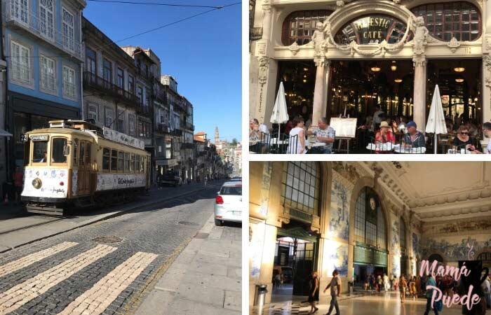 Estación de Sao Benito, Café Majestic y Tranvía.