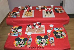 mesa merienda cumple de mickey mouse