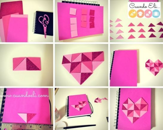 Libreta decorada con corazón geométrico paso a paso
