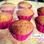 Muffins de Banana y Yogur con Sorpresa de Chocolate