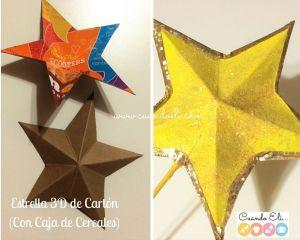 Estrella 3D de Cartón para Árbol de Navidad