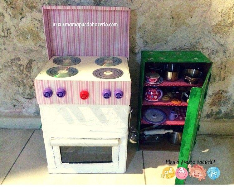 Cocina de cart n reciclado mam puedo hacerlo - Hacer cocinita de juguete ...