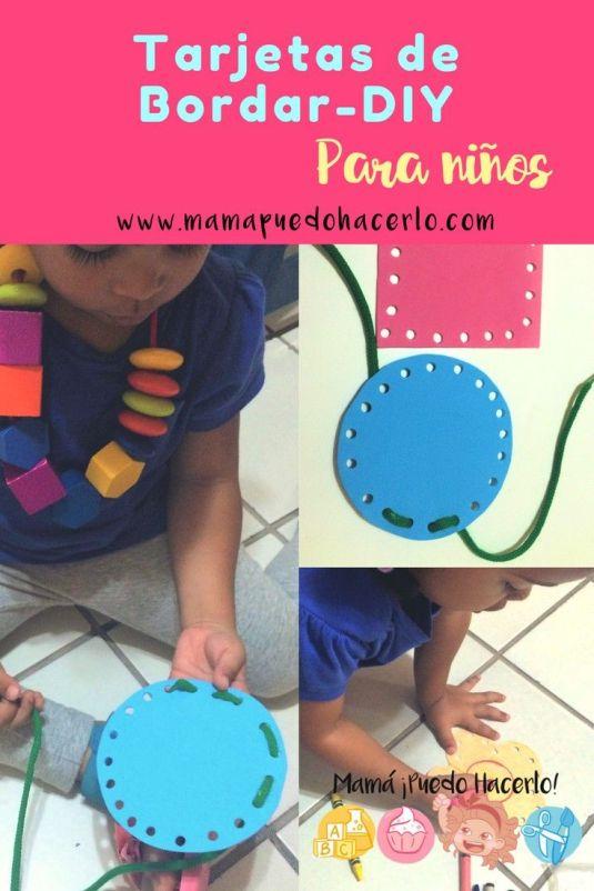 Tarjetas de bordar para niños DIY