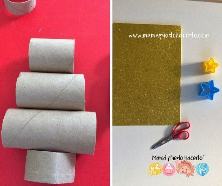 Árbol de navidad de tubos de cartón