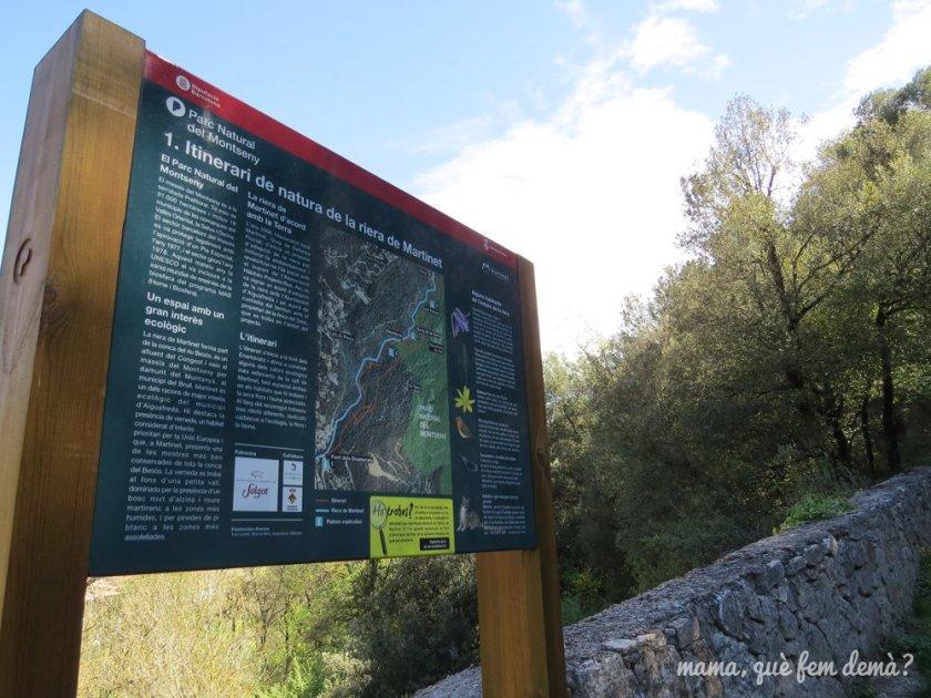 panel informativo de la excursión riera de martinet y aiguafreda de dalt