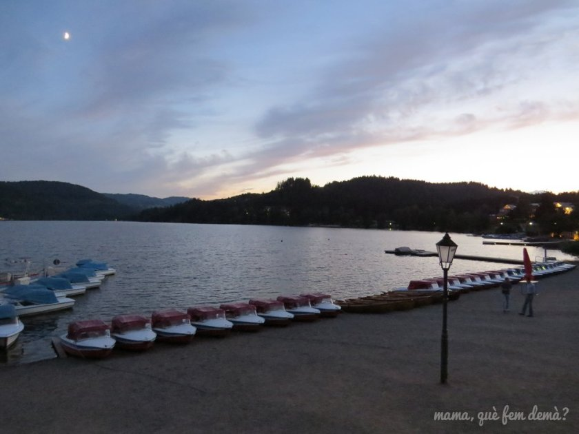 barcas en la orilla del lago Titisee al anochecer