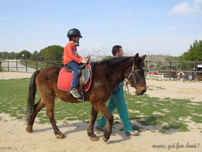 Niño montado a caballo en la Granja Can Pidelaserra