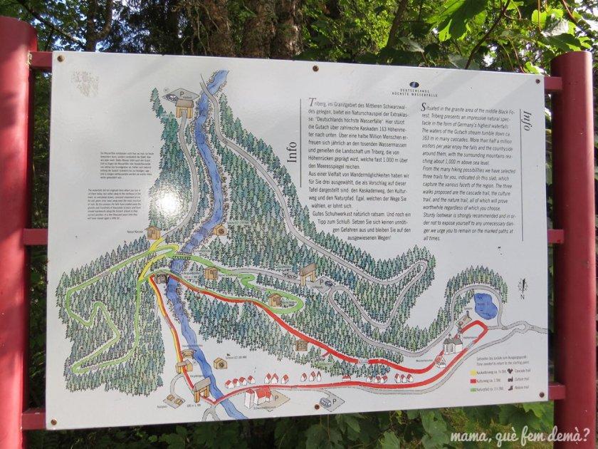 mapa de las cascadas de triberg