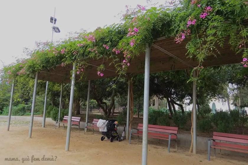 pérgola con flores en el parc sant jordi terrassa