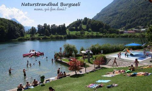 La playa natural del lago suizo de Burgseeli