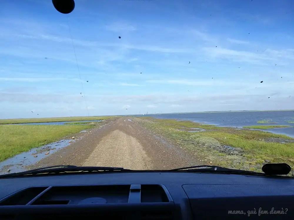 Carretera de Mando a Ribe tras bajar la marea