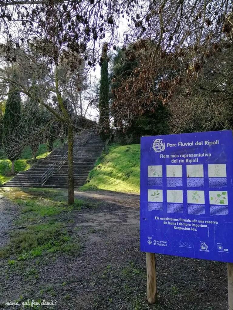 escaleras para acceder a la ermita de Sant Vicenç de Jonqueres desde la zona de barbacoas