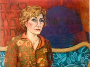 "Paula Blumenfeld, Self portrait in the time of Covid 19, Oil, 24"" x 30"", $5,000"