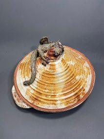 "Robin Henschel, Dragon tagine casserole, Stoneware clay, 12"" x 12"" x 7"", $185"