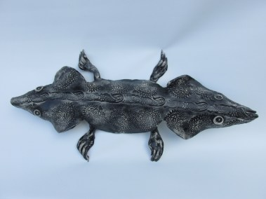 "Joel Trieger, Two Headed Salamander, Ceramic/sculpture, 18""x9""x3"", $250"