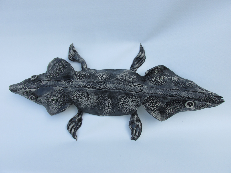 "Joel Trieger, Two Headed Salamander, Ceramic/sculpture, 18""x9""x3"", $250"