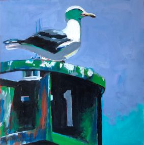 "Marion Schneider, Larry the Seagull, Acrylic, 13""x13"", $1,500"