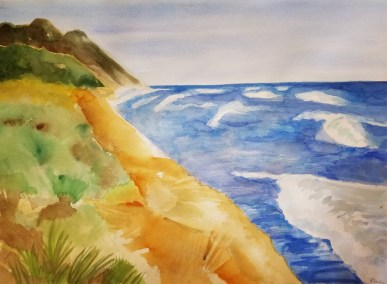 "Leslie Hardie, Sleeping Bear Dunes, Lake Michigan, Watercolor on Arches paper, 22""x30"", $800"