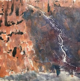"Jacqueline Lorieo, Let The River Flow, Monotype, 22""x22"", $800"