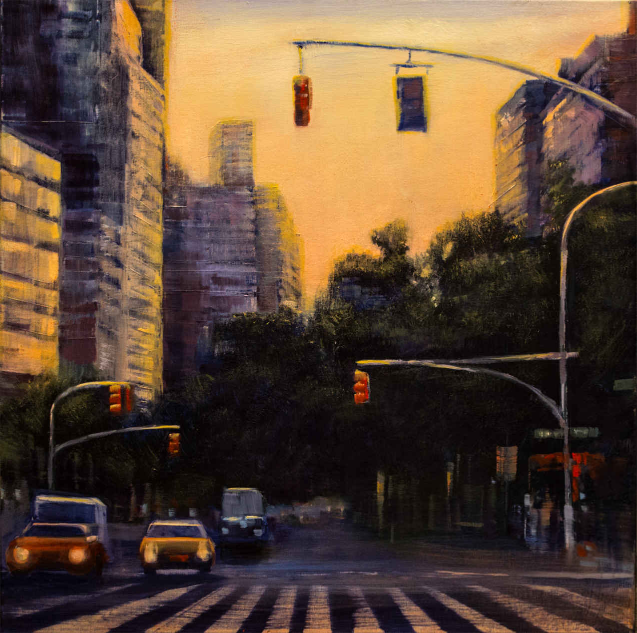 "Jane Black, Red Lights NYC, Oil on linen, 24""x24"", $900"