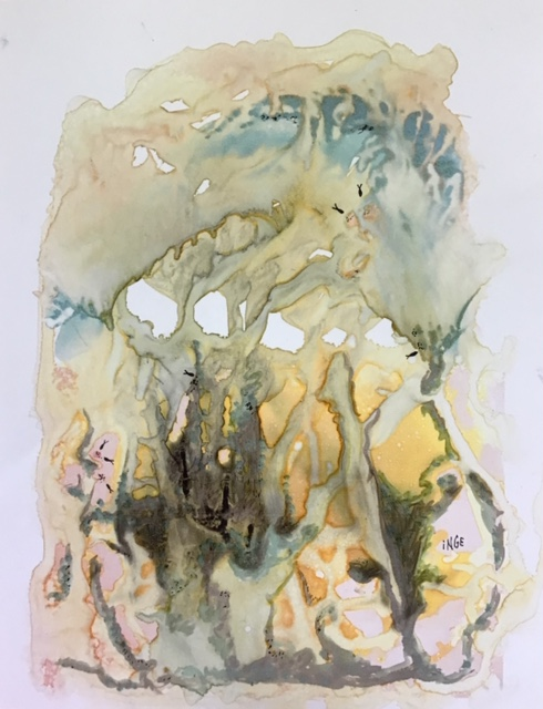 """Inge Pape Trampler, Under the sea II, Acrylic wash on paper, 8.5""""x11"""", $350"""