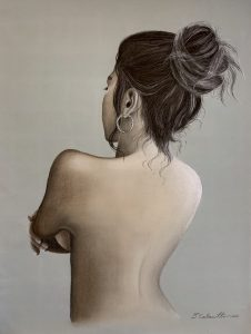 """Diana Calautti, Figure with Arms Crossed, Charcoal, 24""""x18"""", $900"""