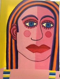 "Dorothy Cancellieri, Face of Woman, Acrylic on canvas, 16""x12"", $400"