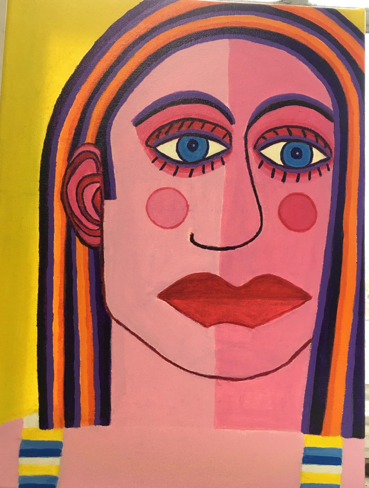 """Dorothy Cancellieri, Face of Woman, Acrylic on canvas, 16""""x12"""", $400"""