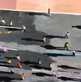 "Honorary Mention: Marion Schneider, Marathon from above, Acrylic on Board, 12""x12"", $1,500"