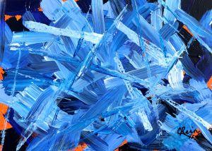 "Carmen Rein, Abstract in Blues, Acrylic on linen canvas sheet, 7.5""x10.5"",$200"