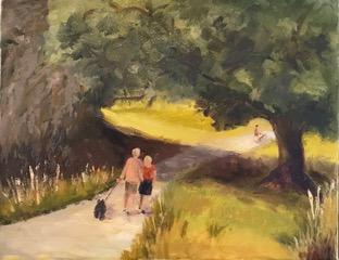 """Denise Petit Caplan, A Walk Everyday, Oil on canvas, 11""""x14"""", $400"""