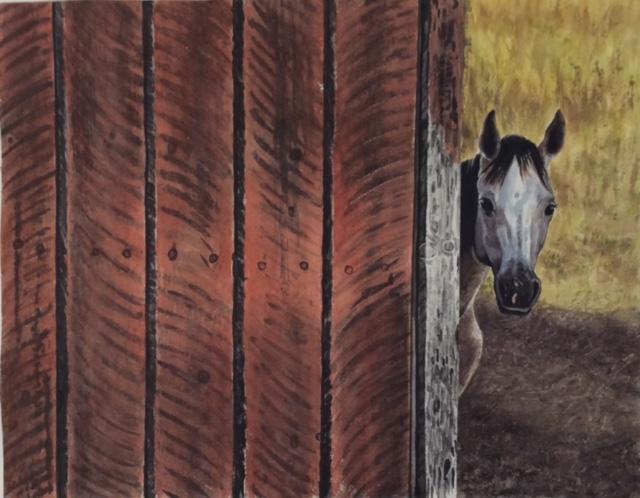 """James Maciel, Barn #2, Watercolor/sumi ink, 24""""x30"""", $250"""